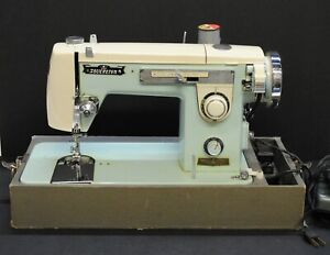 Vintage Sovereign ZigZag 012345 Baby Blue and White Sewing Machine, Circa 1955