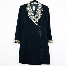 Bahari Womens Dress 8P 3/4 Sleeve Black Animal Print Crossover Button Front 28