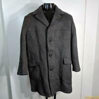 MCREGOR USA Vtg 3/4 Long Wool TWEED Coat Overcoat Mens Size L 42 Gray