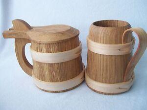Wooden Oak Beer Mug Tankard Christmas Gift For Him Father