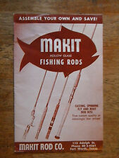 1955 MAKIT HOLLOW GLASS FISHING ROD BOOKLET VINTAGE CASTING SPINNING FLY KITS