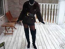 Mint worn 2xblack brown Mink Fur coat jacket bolero S-M