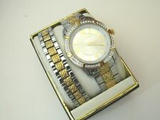 Men's Elgin Two-Tone Silver Dial Watch and Bracelet Set With Crystals Fg9104ST