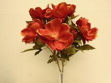 "ORANGE Magnolia Bush Artificial Satin Flowers 22"" Bouquet 371OR"