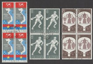 China 1950´s - 1960´s 6 different sets in blocks of 4. CTO