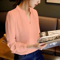 Women Long Sleeve Chiffon T-shirt Blouse V-neck Office Ladies Shirts Tops Size