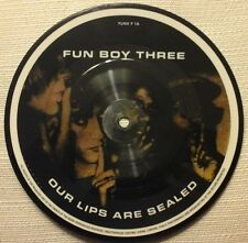 """FUN BOY THREE - OUR LIPS ARE SEALED 7"""" PICTURE DISC 1980s POP EX/EX"""