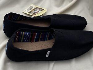 Men's Tom's Classic Alpargata Slip On Sneaker Black-Black Canvas Size: US/10.5