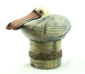 Hand Carved Wood Pelican Statue Home Decor