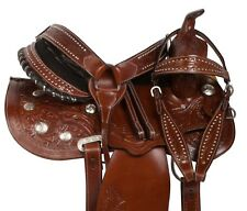 15 WESTERN TOOLED BROWN BARREL RACING LEATHER HORSE TRAIL SADDLE TACK