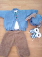 "Hand Knitted 'Peter' Rabbit outfit for baby boys 0-3 months/19-22"" reborn doll"