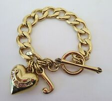 JUICY COUTURE Starter Charm Bracelet Chunky Gold Tone Chain Puffy Heart Toggle
