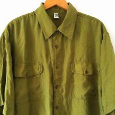 Men Casual Summer Button Down 100% Pure Silk Green Short Sleeve Shirt Size XL