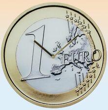 Glas Uhr 1 Euro € 37,5 cm Bank Geld Finanzen Wanduhr Glasuhr Geldanlage Europa
