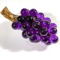 "Vtg 60s Large MCM Lucite Grape Cluster Driftwood Purple 13"" Interior Decor EUC"