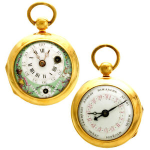 RARE ANTIQUE DOUBLE DIAL VERGE FUSEE KEYWIND POCKET WATCH CA1820
