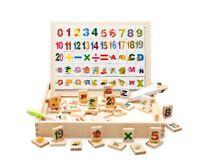 Niños Madera Magnética Número Letras Doble Lado Tablero de Dibujo Puzzle Toys