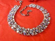"Vintage LISNER Spectacular Aurora Rainbow Rhinestones Silver 17"" Collar Necklace"