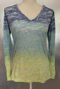 Athleta Sz S Blue Green Yellow Floral LS Hooded Active Burnout Tee Shirt Top