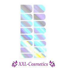 16 x Nagelfolie Nail Art Stripes Folie Silber Hologram  #NF-21
