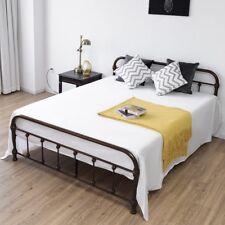 Bedroom Queen Size Metal Steel Bed Frame w/Stable Slats Mattress Foundation Bed
