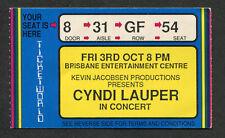 1986 Cyndi Lauper Concert Ticket Stub Brisbane Australia True Colors Tour