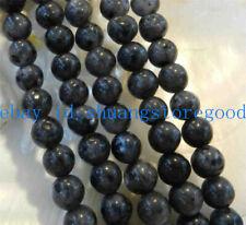 "Natural 8mm India Black Gray Labradorite Gems Round Loose Beads 15"" Strand"