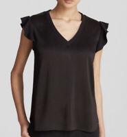 Kate Spade V Neck Blouse Size Large Black Short Sleeve Ruffle Detail