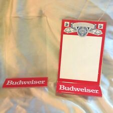 2 Vintage Budweiser Beer Acrylic Table Tent Sign Holders.Used Condition.More >