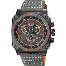 Citizen Eco-Drive Men's AT2288-03H Square Chronograph Orange Accents 43mm Watch