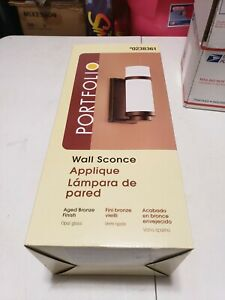 Portfolio Wall Sconce aged bronze finish With Opal glass #0238361 New in the box