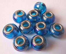 10 X Iridiscente Brillante Azul AB cuentas de vidrio para europeo encanto Pulseras