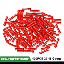 100Pcs Red 22-18 Gauge AWG Ga Wire Butt Connectors Vinyl Car Radio Terminals