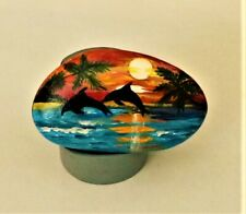 ORIGINAL HAND PAINTING OCEAN SUNSET DOLPHINS ON RIVER ROCK