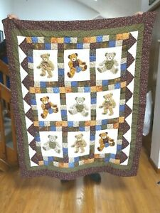 """Teddy Bear Quilt Wall Hanging 100% cotton 50"""" x 60"""" ...never used.."""