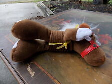 PASTIMES STUFFED HORSE BROWN, WHITE BLAZE MANE SUCTION CUP WINDOW SLINKY TYPE