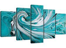 EXTRA Large Color Foglia Di Tè e Bianco Swirl-Astratto Tela SPLIT 5 Pannello