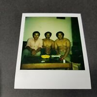 Shirtless Hispanic Men Lined up on Couch Vintage Polaroid Photo Gay Interest