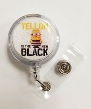 Despicable Me3 Minions, DAVE Yellow is New Black, Retractable Badge Glitter 3D