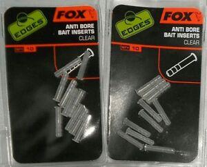 20 x FOX EDGES ANTI BORE BAIT INSERTS CLEAR CAC539
