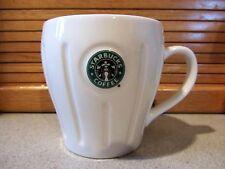 STARBUCKS Barista Mug, 2003 - 16oz. White Ribbed with Starbucks Logo Button