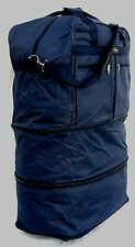 """36"""" 50LB CAP NAVY BLUE EXPANDABLE ROLLING SPINNING WHEELED  DUFFLE BAG/LUGGAGE"""