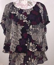 THX THANX Collection Womens Shirt Size 1X Short Sleeve Floral Print