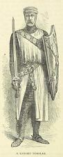 Knight Templar Crusades Crusader Sword Shield Christianity 7x3 Inch Print