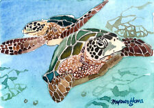 ACEO Limited Edition -Under the sea, Turtles, Animal art print, Gift for her
