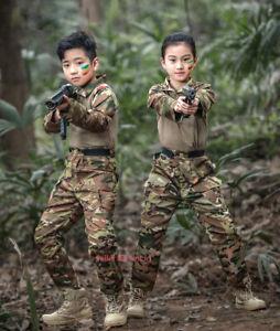 Kids Camo Tactical Combat Uniform Sets Airsoft Army Shirt & Pants Military Suit