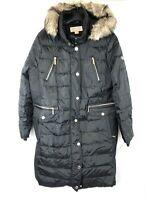 Michael Kors Women's Long Black Parka Coat Faux Fur Trim Hood, Size XL