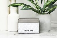 Michael Kors Jet Set Medium Zip Around Bright White PVC Leather Card Case Wallet
