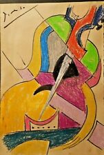 Pablo Picasso Guitar Portrait Original Watercolor Drawing Painting. Signed.