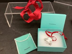 Beautiful Tiffany & Co.  Crystal Bell Ornament in Box with Felt Bag Signed